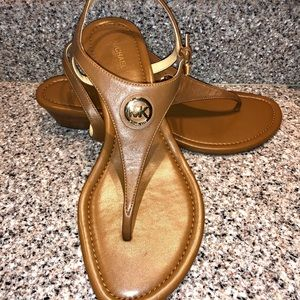 Michael Kors Brown Leather Buckle Sandals